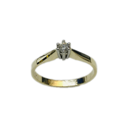 Gouden solitair ring - 14 karaats - Wit/geel - Briljant - 0.10 crt - Wit/VSi - Maat 17.5