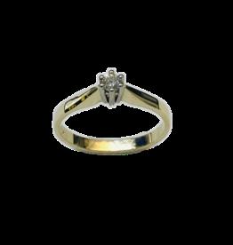 Gouden solitair ring - Wit/geel - Briljant - 0.10 crt - Wit/VSi - Maat 17.5