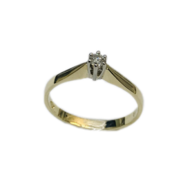 Gouden solitair ring - 14 karaats - Wit/geel - Briljant - 0.07 crt - Wit/Si - Maat 17.5
