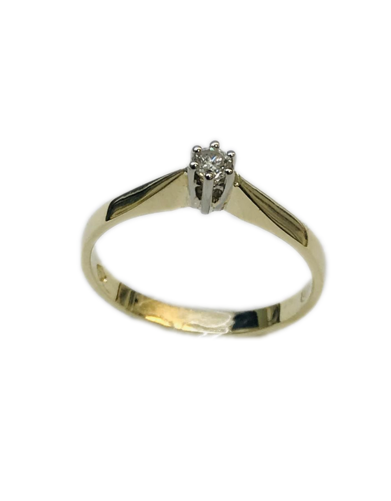 Gouden solitair ring - Wit/geel - Briljant - 0.07 crt - Wit/Si - Maat 17.5