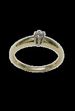 Gouden solitair ring - Wit/geel - Briljant - 0.055 crt - Wit/Si - Maat 17.5