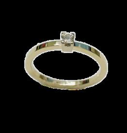 Gouden solitair ring - 14 karaats - Wit/geel - Briljant - 0.055 crt - Wit/Si - Maat 17.5