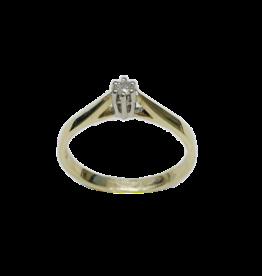 Gouden solitair ring - 14 karaats - Wit/geel - Briljant - 0.05 crt - W/Si - Maat 17.5
