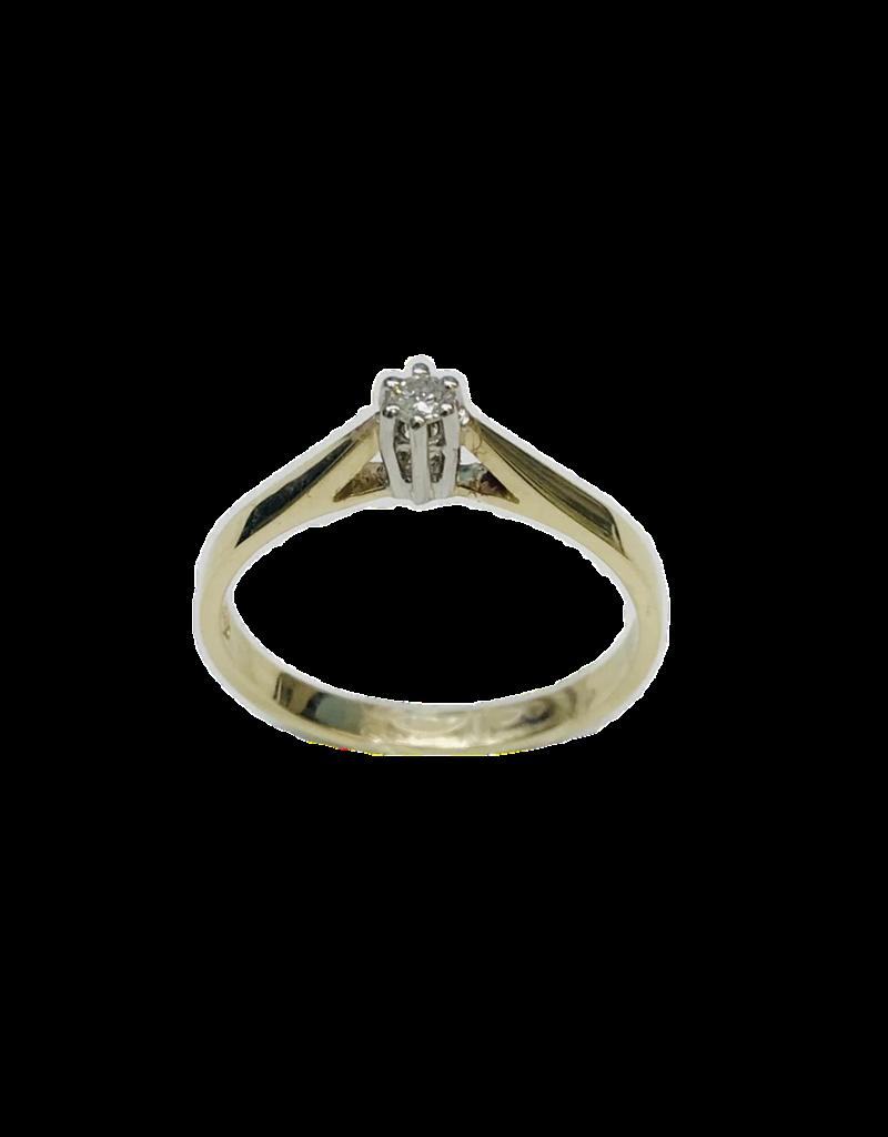Gouden solitair ring - Wit/geel - Briljant - 0.05 crt - W/Si - Maat 17.5