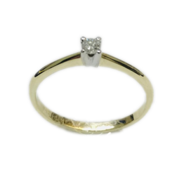 Gouden solitair ring - 14 karaats - Wit/geel - Briljant - 0.05 crt - TW/Si - Maat 17.5