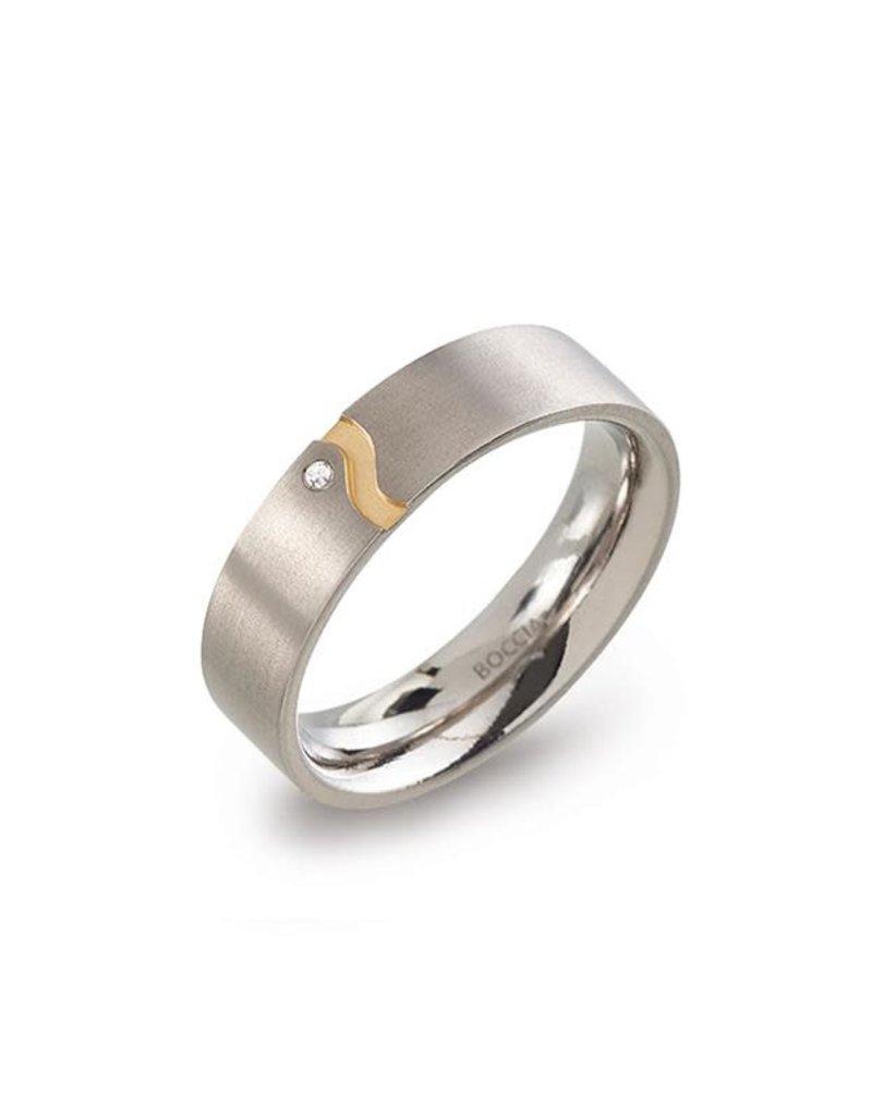 Boccia Boccia - Ring - Titanium bicolor - Diamant 0.005 crt - Maat 56