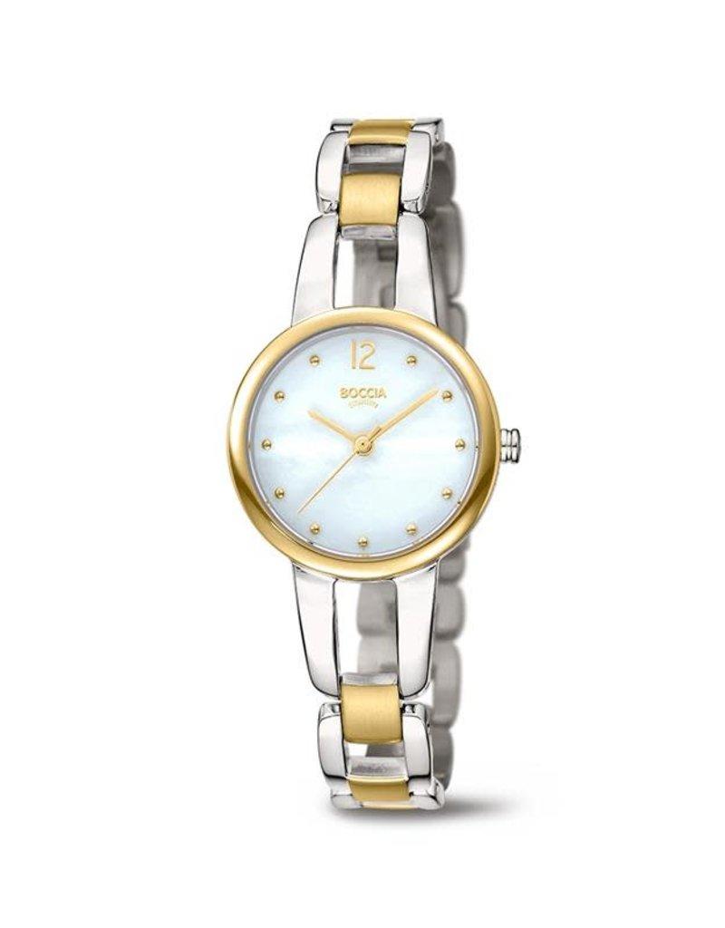 Boccia Boccia - Horloge - Dames - Titanium bicolor - Saffier - 28 mm - 5 ATM