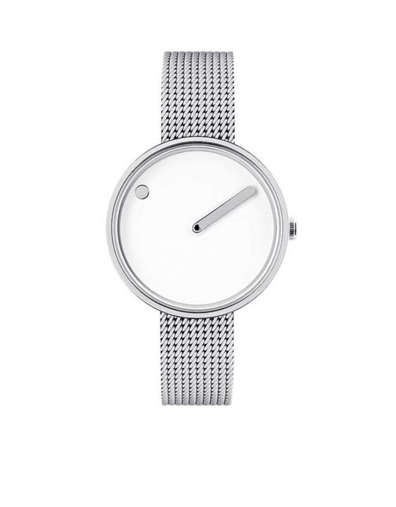 Picto Picto - Horloge - Wit - Staal - 30 mm - Milanees