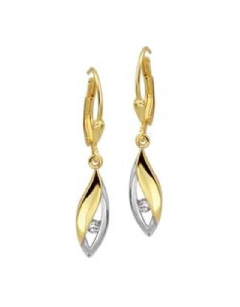 Gouden oorbellen - 14 karaats - Wit/geel - Zirkonia