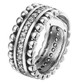 Zilveren ring - Geoxideerd - Zirkonia - 8,5 mm - Maat 18.5
