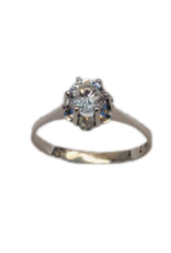 Occasions by Marleen Occasions by Marleen - Wit gouden ring - Wit Saffier - Maat 17.25