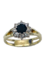 Occasions by Marleen Occasions by Marleen - Wit/Geel gouden ring - Briljant en Blauw Saffier - Maat 17.25
