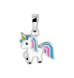 Zilveren hanger - Gerhodineerd - Eenhoorn  - Multicolor
