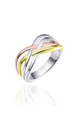 Gisser Zilveren - Bicolor ring - Gerhodineerd - Maat 58