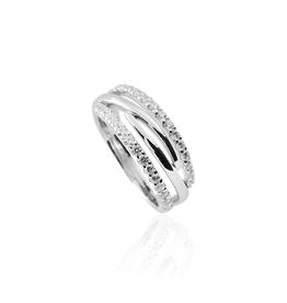 Gisser Zilveren ring - Zirkonia - Gerhodineerd - Maat 60