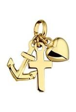 Gouden Hanger - 14 karaats - Geloof, hoop en Liefde - 18 mm