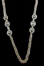 Occasions by Marleen Occasions by Marleen - Zilveren koord collier - Met gladde en Ribballen - 90 cm