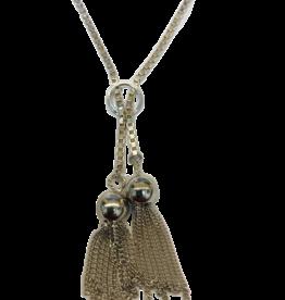 Occasions by Marleen Occasions by Marleen - Zilveren collier - Venetiaans - 2 kwastjes - 41 cm