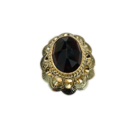 Occasions by Marleen Occasions by Marleen - Gouden ring - Granaat - Maat 17.5