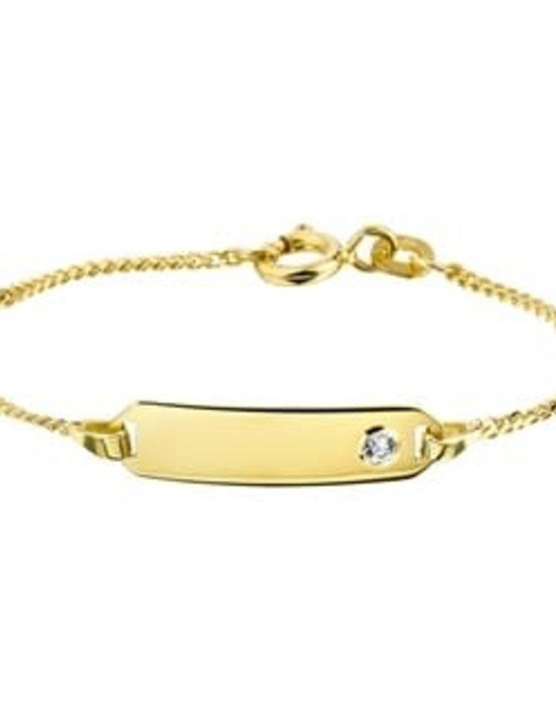 Gouden plaatbandje -  14 karaats - Zirkonia - 9-11 cm