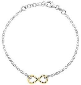 Zilver / Zilver vergulde armband - Infinity - 17-19 cm