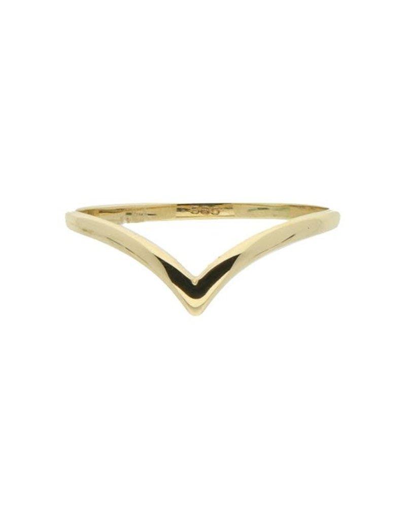 van Leeuwen Gouden ring - 14 karaats - V vorm - Maat 54