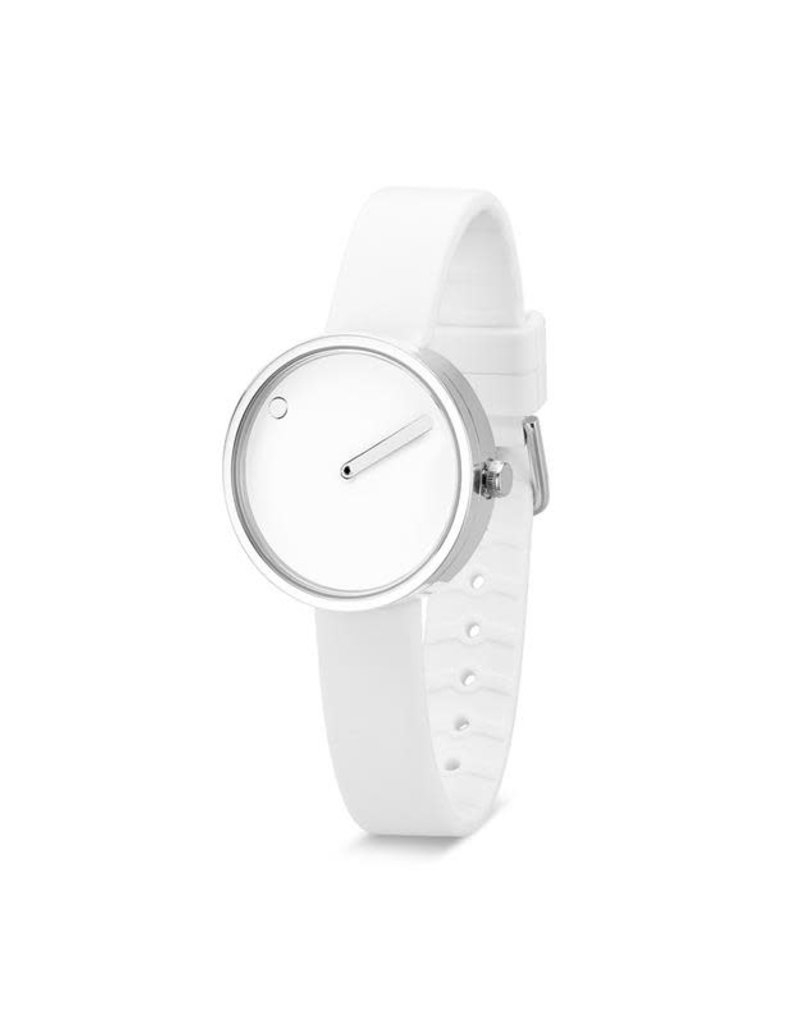 Picto Picto - Horloge - Wit - Staal - 30 mm -Siliconen