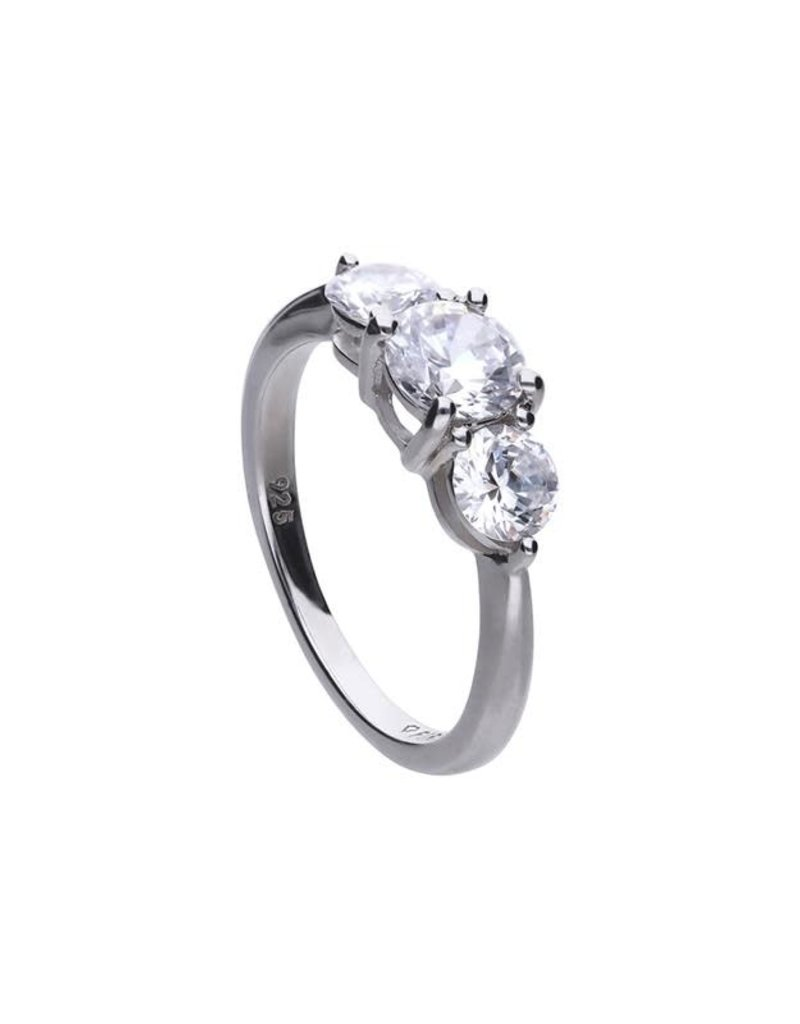 Diamonfire Diamonfire - Zilveren ring - 3 zirkonia's - Maat 17