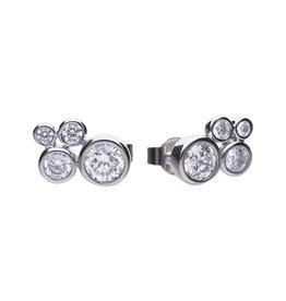 Diamonfire Diamonfire - Zilveren oorknoppen cluster