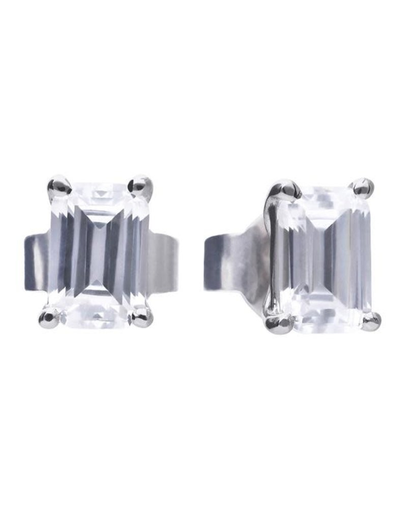 Diamonfire Diamonfire - Zilveren oorknoppen - Dainty Emerald