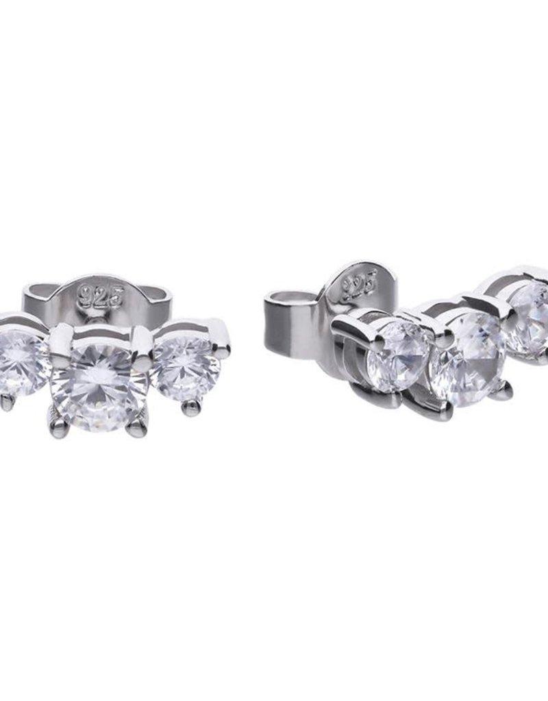 Diamonfire Diamonfire - Zilveren oorknoppen - 3 Zirkonia's