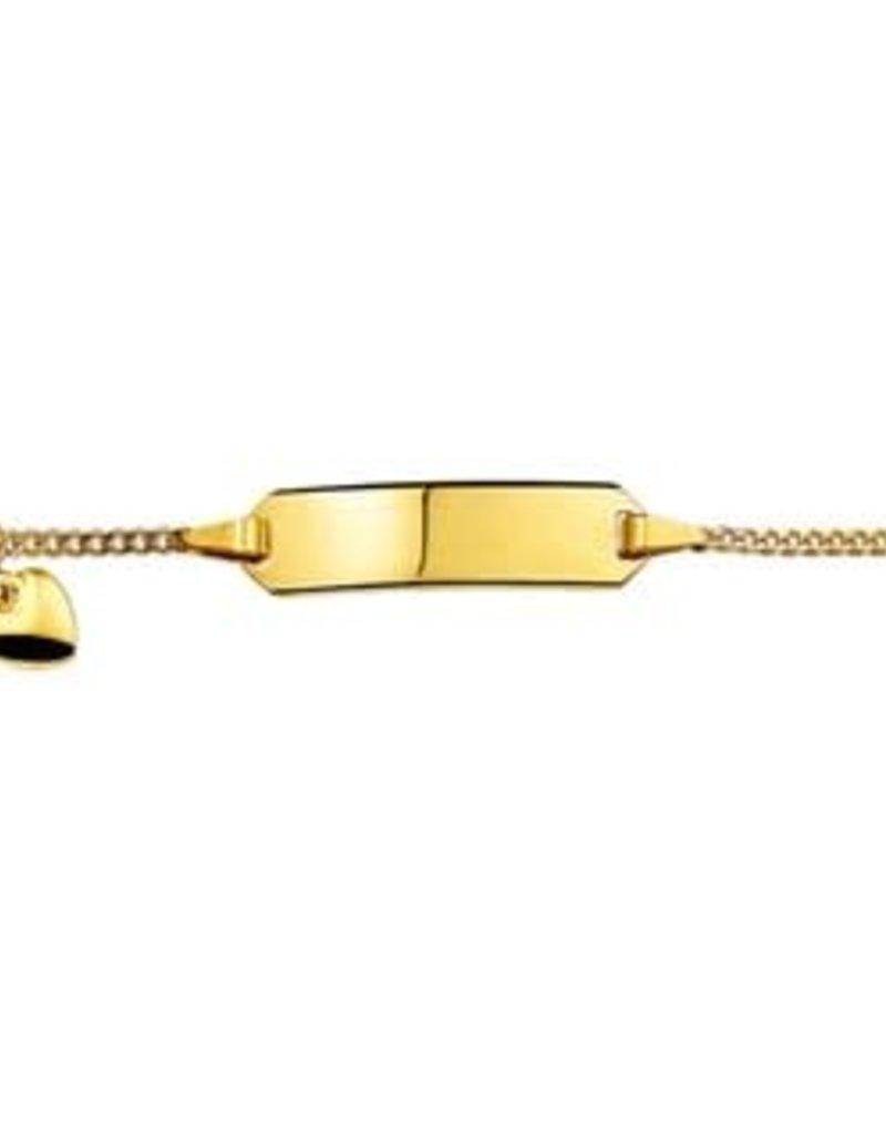 Gouden plaatbandje - 14 karaats - Gourmet - Hartje - 9-11 cm
