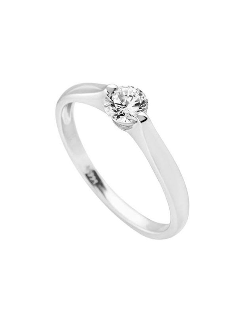 Diamonfire Diamonfire - Zilveren damesring - Solitair - 0.5 ct - Zirkonia - Maat 17
