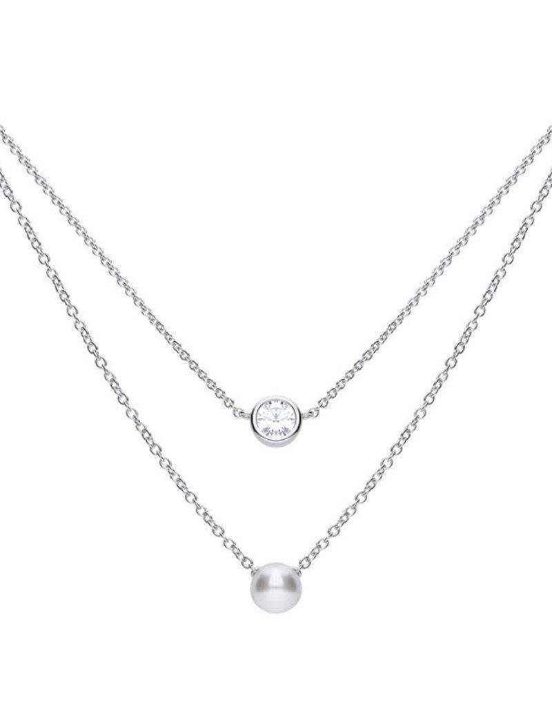 Diamonfire Diamonfire - Zilveren collier met hanger - Zirkonia - Parel - 45 cm