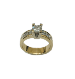 Geel/Wit gouden ring- 14 karaats - Briljant - 0.65 crt - 0.28 crt - Maat 17.5