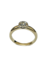 Geel/Wit gouden ring- 14 karaats - Briljant - 0.36 crt - Maat 17.5