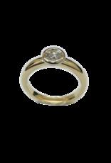 Geel/Wit gouden ring- Briljant - 0.36 crt - Maat 17.5