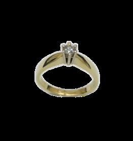 Geel/Wit gouden ring- Briljant - 0.15 crt - Maat 17.5