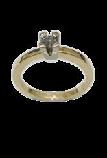 Geel/Wit gouden ring- Briljant - 0.20 crt - Maat 17.5