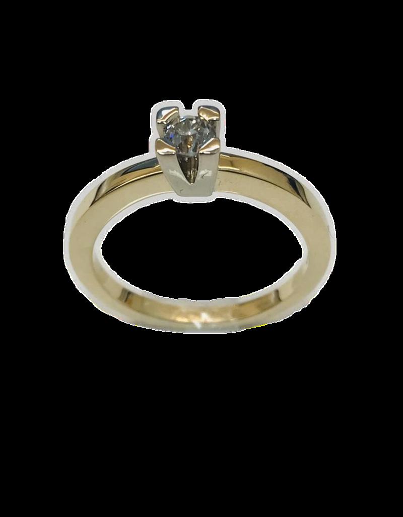 Geel/Wit gouden ring- 14 karaats - Briljant - 0.20 crt - Maat 17.5