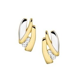 Gouden oorknoppen - 14 karaats - Bicolor - Zirkonia