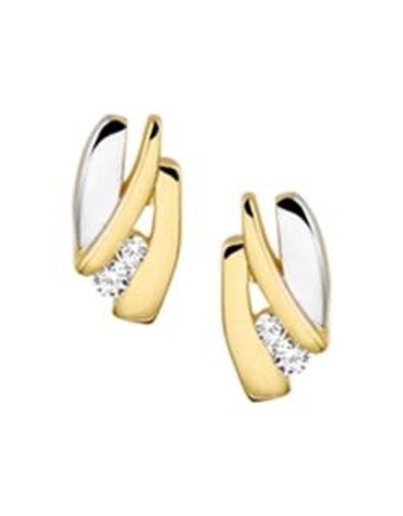 Gouden oorknoppen - Bicolor - Zirkonia