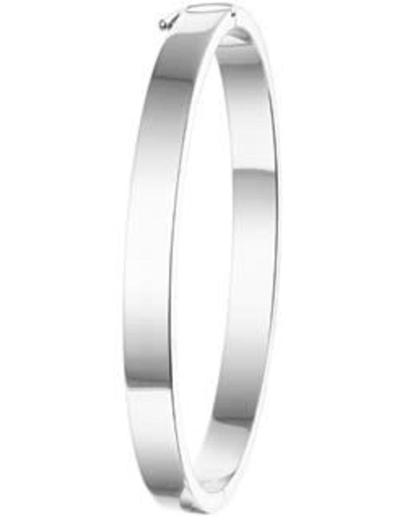 Zilveren slavenband - Gerhodineerd - 60 mm - 6 mm (Vlak)