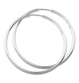 Zilveren creolen - Ronde buis - 40 mm
