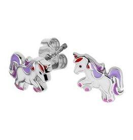 Zilveren oorknoppen - Gerhodineerd - Eenhoorn - Paars