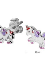 Zilveren oorknoppen - Eenhoorn - Gerhodineerd