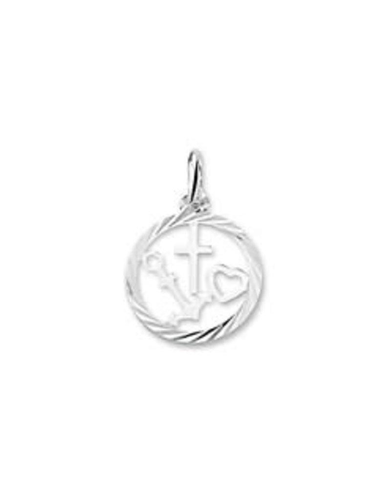 Zilveren hanger - Geloof, hoop en liefde - Gediamanteerd - Gerhodineerd