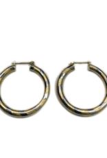 Occasions by Marleen Occasions by Marleen - Wit/geel gouden creolen - 25.6 mm