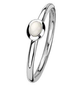 Zilveren aanschuifring - Gerhodineerd - Wit Agaat - Maat 17.25