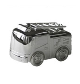 van Steyn Geboortecadeau - Verzilverde spaarpot - Brandweerauto